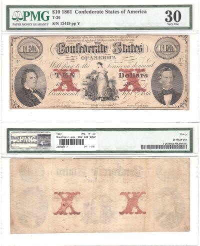 1861. $10. PMG. VF-30. T-26.