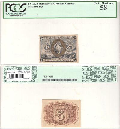 5c. 2nd Issue. PCGS. Ch AU-58. F-1232.