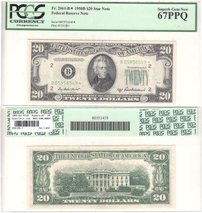 1950-B*. $20. F-2061-B*. PCGS. Superb-67. PPQ. Fed