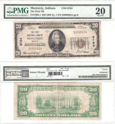 1929. $20. PMG. VF-20. IN. Monterey. Charter 9784.