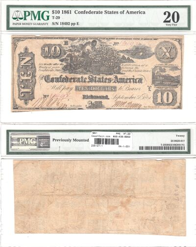 1861. $10. PMG. VF-20. T-29.