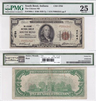 1929. $100. PMG. VF-25. IN. South Bend. Charter 47