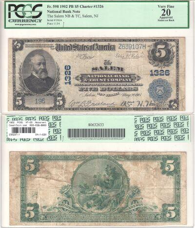 1902. $5. PCGS. VF-20. Apparent. NJ. Salem. Charte