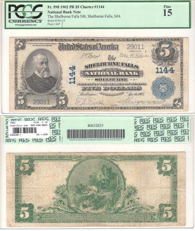 1902. $5. PCGS. F-15. MA. Shelburne Falls. Charter