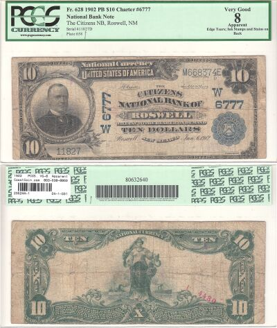 1902. $10. PCGS. VG-8. Apparent. NM. Roswell. Char