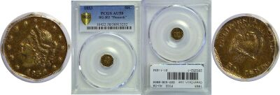 1853. PCGS. AU-58. California Fractional Gold.