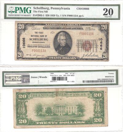 1929. $20. PMG. VF-20. PA. Schellburg. Charter 106