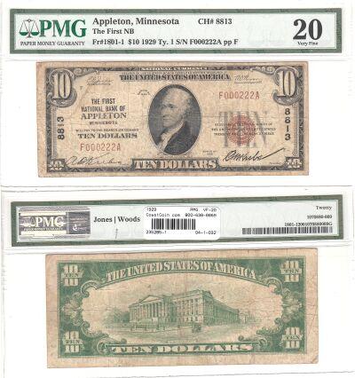 1929. $10. PMG. VF-20. MN. Appleton. Charter 8813.