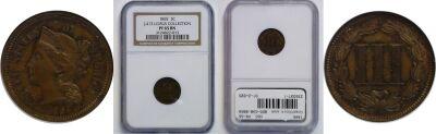 1865. Three Cent-Nickel. NGC. PR-65. J-413.