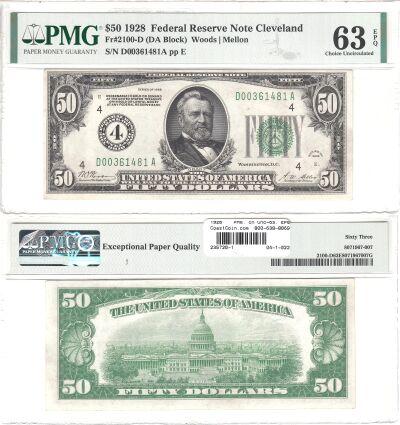1928. $50. F-2100-D. PMG. Ch Unc-63. EPQ. Federal