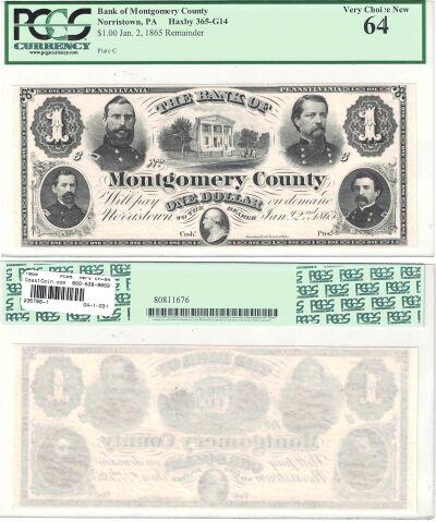 1865. $1. PCGS. Very Ch-64. PA.