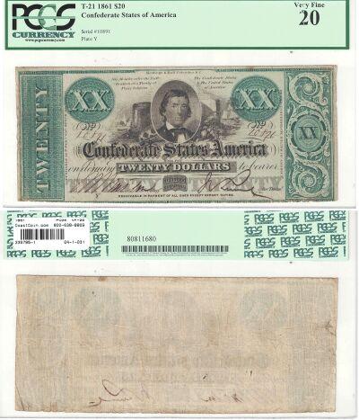 1861. $20. PCGS. VF-20. T-21.