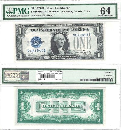 1928-B. $1. F-1602. PMG. Ch Unc-64. Silver Certifi