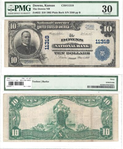 1902. $10. PMG. VF-30. KS. Downs. Charter 11318.