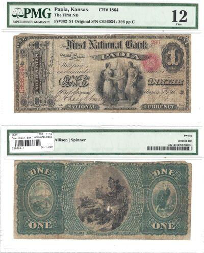 1865. $1. PMG. F-12. KS. Paola. Charter 1864.