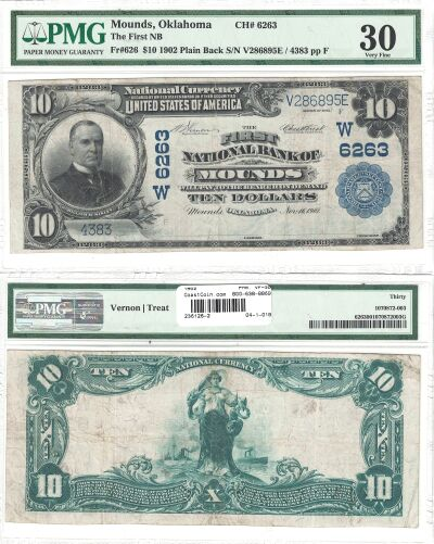 1902. $10. PMG. VF-30. OK. Mounds. Charter 6263.
