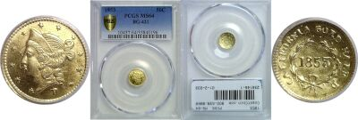 1853. PCGS. MS-64. California Fractional Gold.