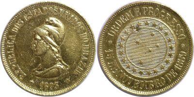 1893. Brazil. 20,000 Reis. XF.