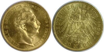 1898-A. Germany. 20 Marks. CBU.