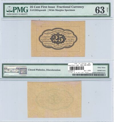 25c. 1st Issue. PMG. Ch Unc-63. Net. F-1282SP.