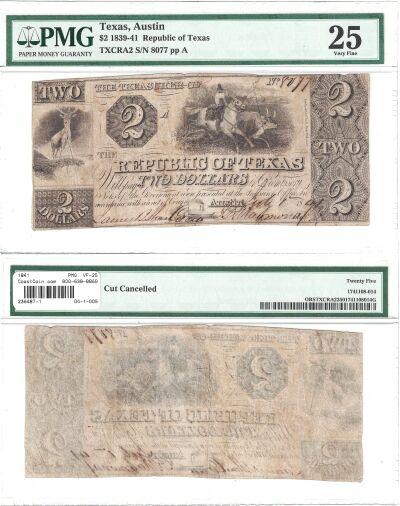 1841. $2. PMG. VF-25. TX.