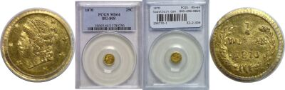1870. PCGS. MS-64. California Fractional Gold.