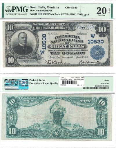 1902. $10. PMG. VF-20. EPQ. MT. Great Falls. Chart