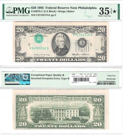 1985. $20. PMG. Ch VF-35. EPQ. Federal Reserve Not