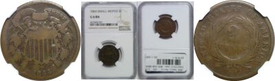 1864 Small Motto. NGC. G-6.