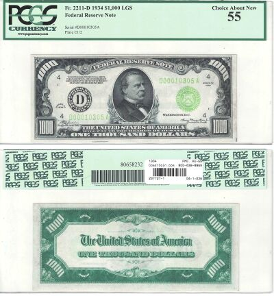 1934. $1000. F-2211-D. PCGS. Ch AU-55. Federal Res