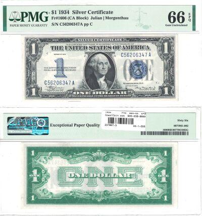 1934. $1. F-1606. PMG. Gem-66. EPQ. Silver Certifi