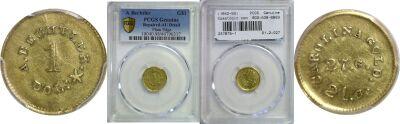 (1842-50). PCGS. Genuine. A. Bechtler $1.