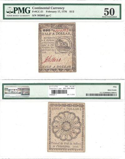 2/17/1776. CC. $1/2. PMG. AU-50.