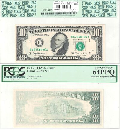 1995. $10. PCGS. Very Ch-64. PPQ. Federal Reserve