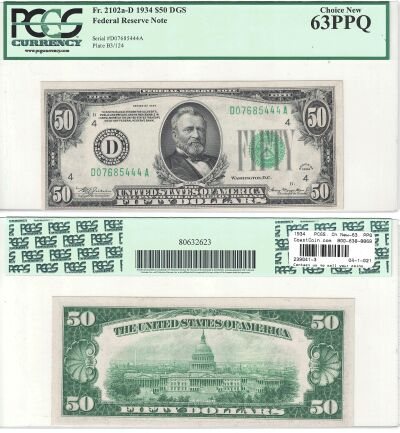 1934. $50. F-2102a-D. PCGS. Ch New-63. PPQ. Federa
