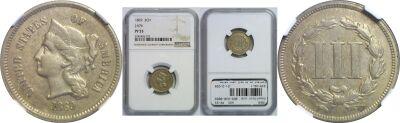 1869. Three Cent. NGC. PR-53. J-676.