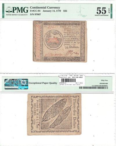 1/14/1779. CC. Thirty Five Dollars. PMG. AU-55. EP