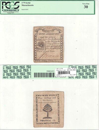 12/1/1779. MA. Four Shillings & Six Pence. PCGS. V
