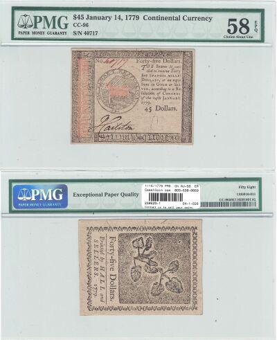 1/14/1779. CC. Forty Five Dollars. PMG. Ch AU-58.