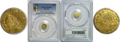 1874. PCGS. MS-65. California Fractional Gold.
