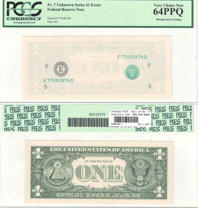 Undated. $1. PCGS. Very Ch-64. PPQ. Federal Reserv