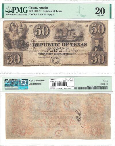 1839-41. $50. PMG. VF-20. TX.