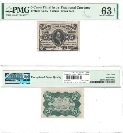 5c. 3rd Issue. PMG. Ch Unc-63. EPQ. F-1238.