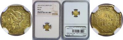 1853. NGC. MS-61. California Fractional Gold.