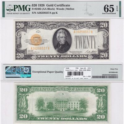 1928. $20. F-2402. PMG. Gem-65. EPQ. Gold Certific
