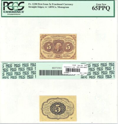 5c. 1st Issue. PCGS. Gem-65. PPQ. F-1230.