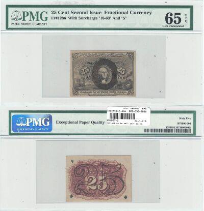 25c. 2nd Issue. PMG. Gem-65. EPQ. F-1286.