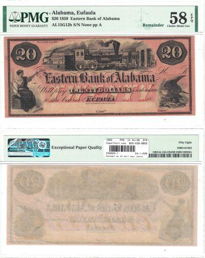 1859. $20. PMG. Ch AU-58. EPQ. AL.