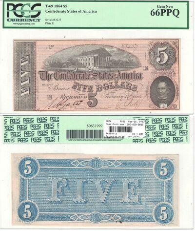 1864. $5. PCGS. Gem-66. PPQ. T-69.