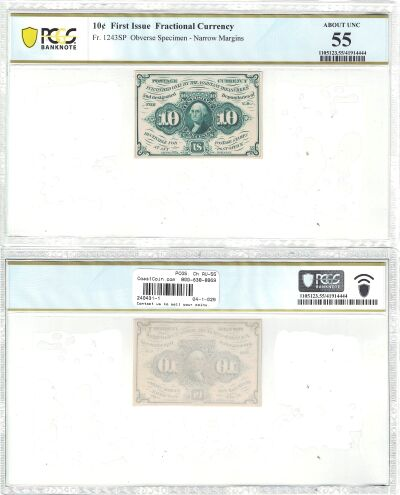 10c. 1st Issue. PCGS. Ch AU-55. F-1243SP.